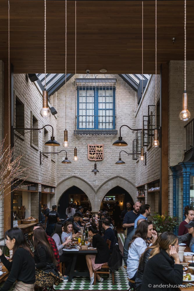 Republique's interior looks more like a cathedral than a restaurant.