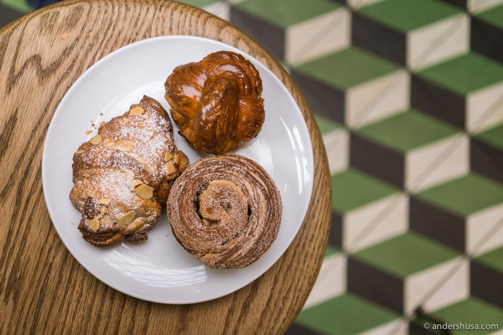 Republique has a whole counter of fresh pastries by the entrance.
