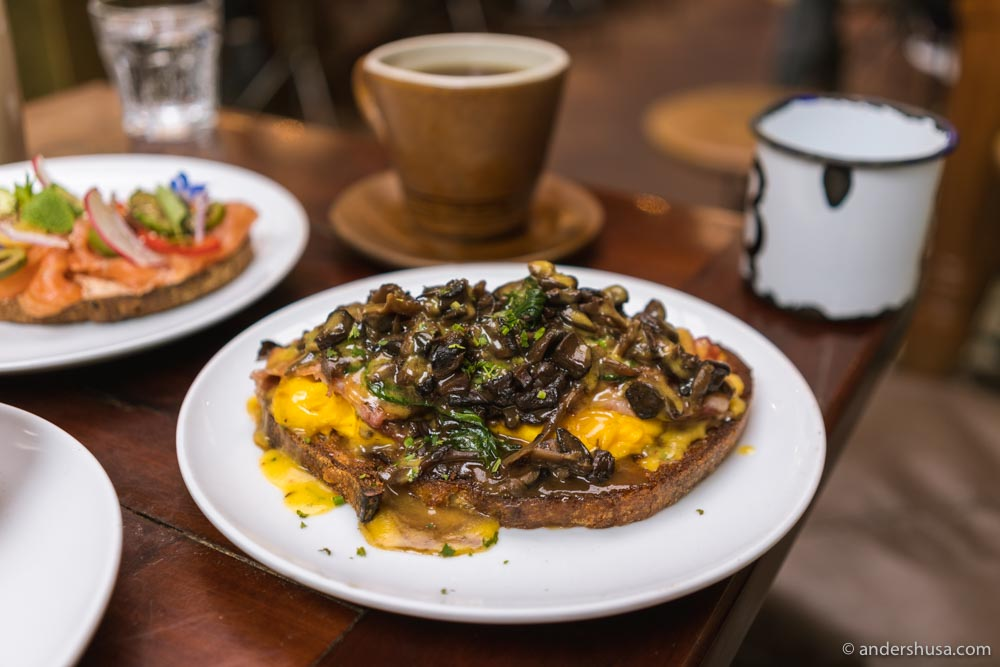 Wild mushroom toast with scrambled eggs.