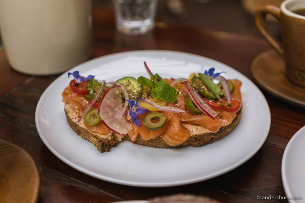 Smoked salmon tartine.