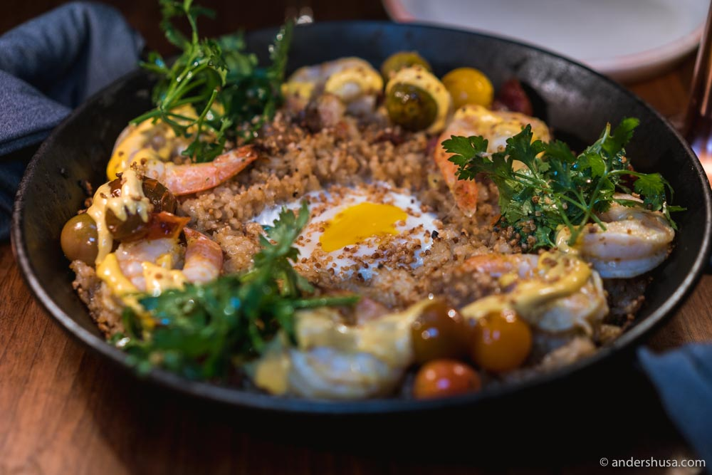 The chaufa paella – a fried rice dish with pancetta, shrimp, and a runny egg on top.