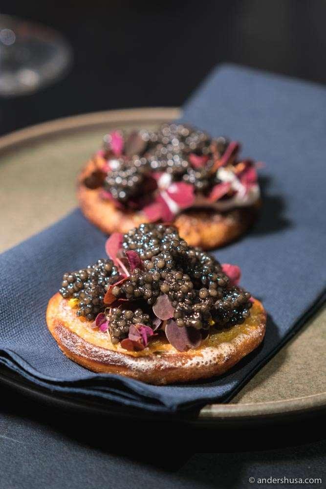 «Palthæsta» with caviar. Bornholmian pancakes made from leftover porridge.