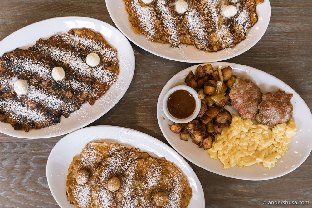 Breakfast by Salt's Cure offers a few different flavors of the griddle cakes, including banana nut, chocolate chip, and blueberry.