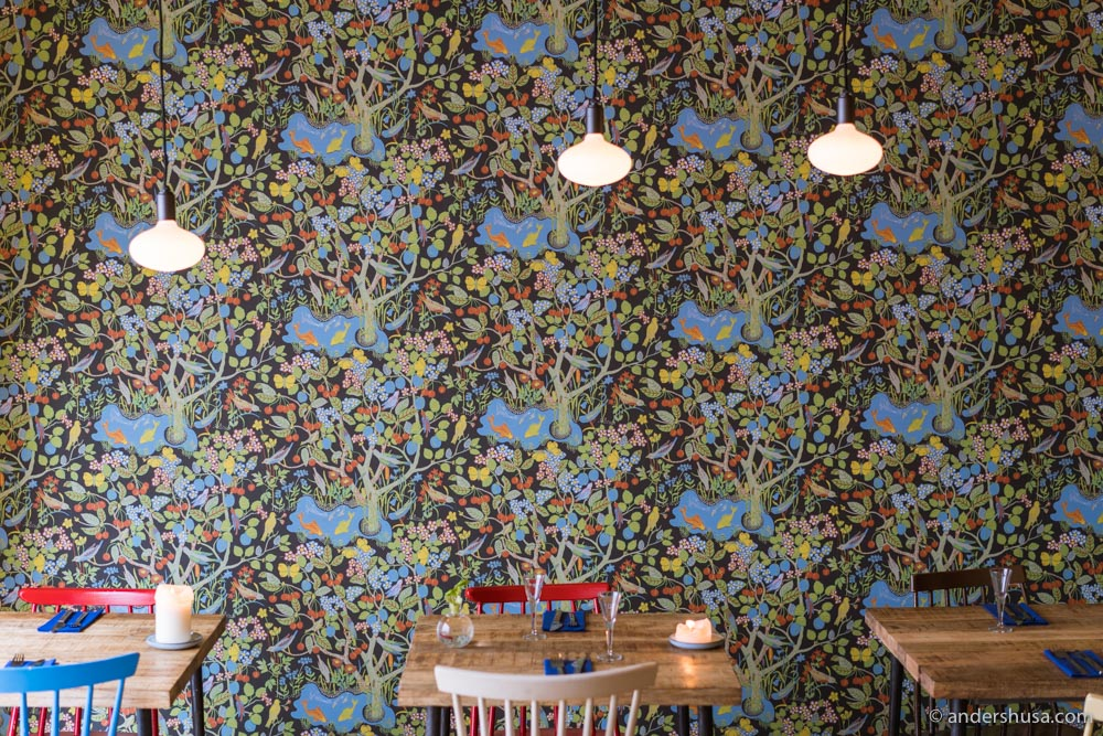 The amazing colorful wall at restaurant Selma in Copenhagen.