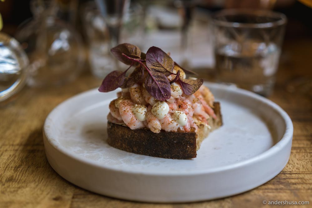 Shrimps, cabbage, buttermilk, and lemon on sourdough.