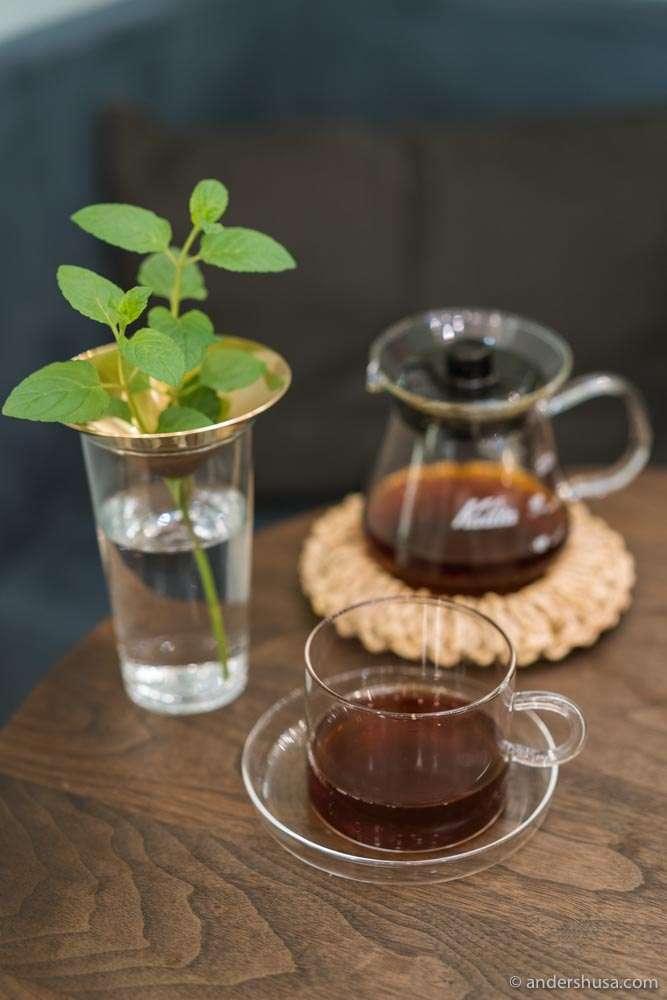 Freshly brewed Kalita coffee.