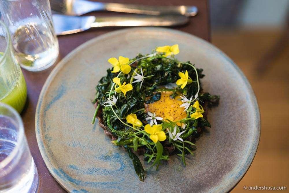 Vegetable tart with egg.