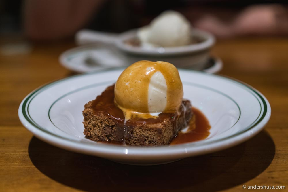 The blondie brownie, topped with house-made vanilla ice cream and sea salt caramel, is one of our favorite desserts in L.A.
