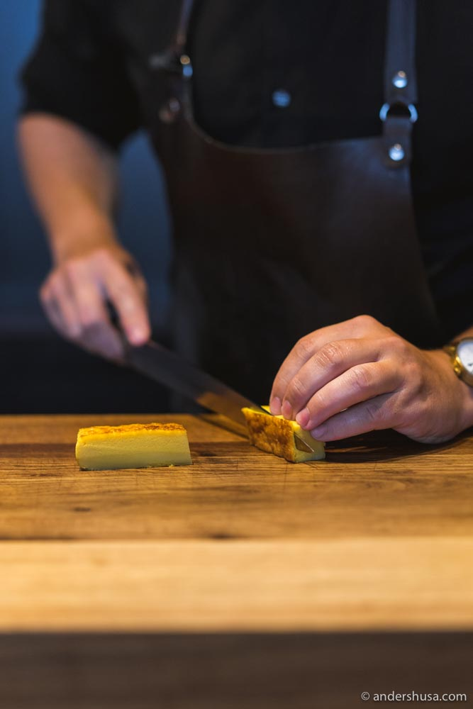 Preparing the tamago – sweet Japanese omelette.