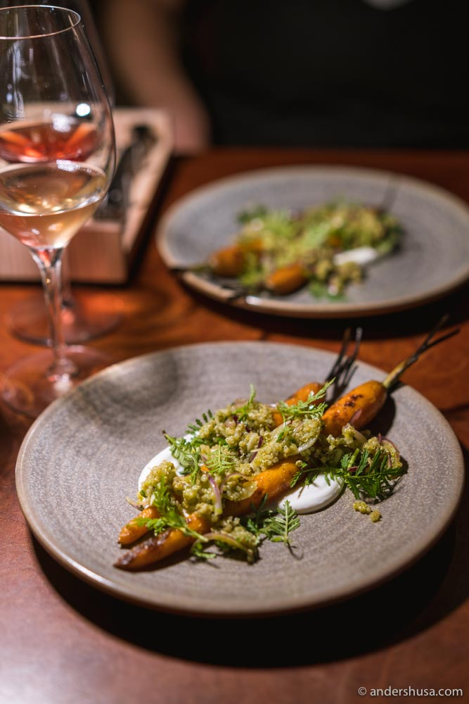 Grilled carrots with goats curd and marigold.