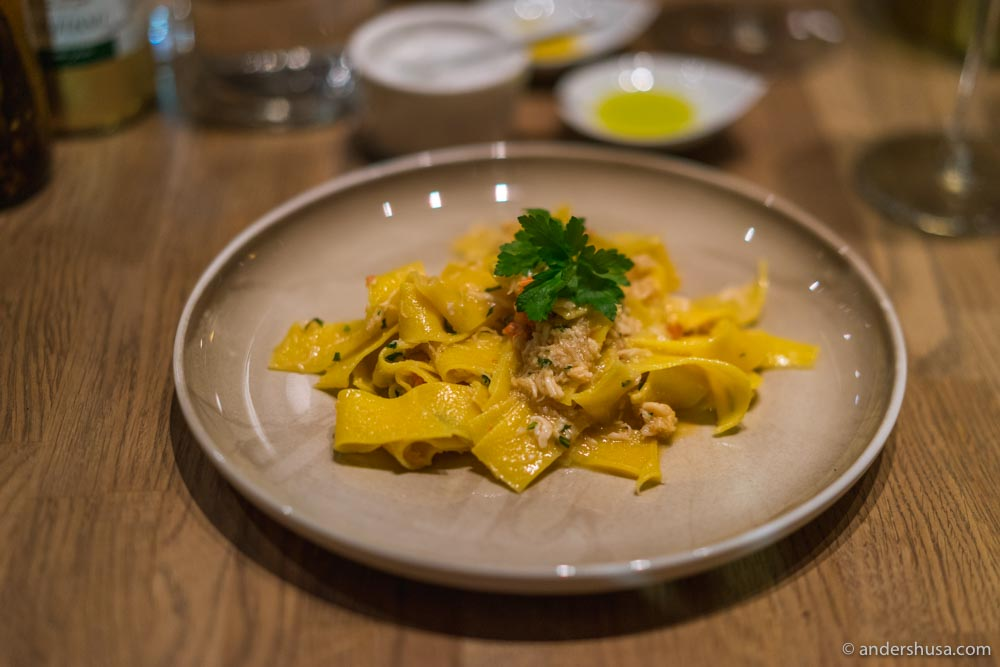 Pappardelle with king crab.