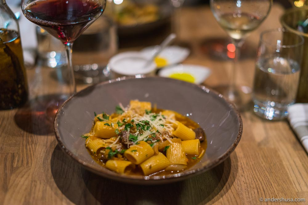 """Pasta e fagioli"" – Rigatoni pasta, pork belly, red beans, and dried fava beans."
