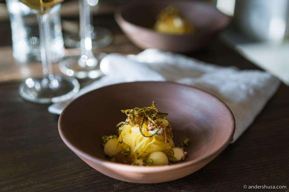 Rutabaga, geranium-fermented apple, yogurt, broken gel of coriander, buckwheat, and wild celeriac.