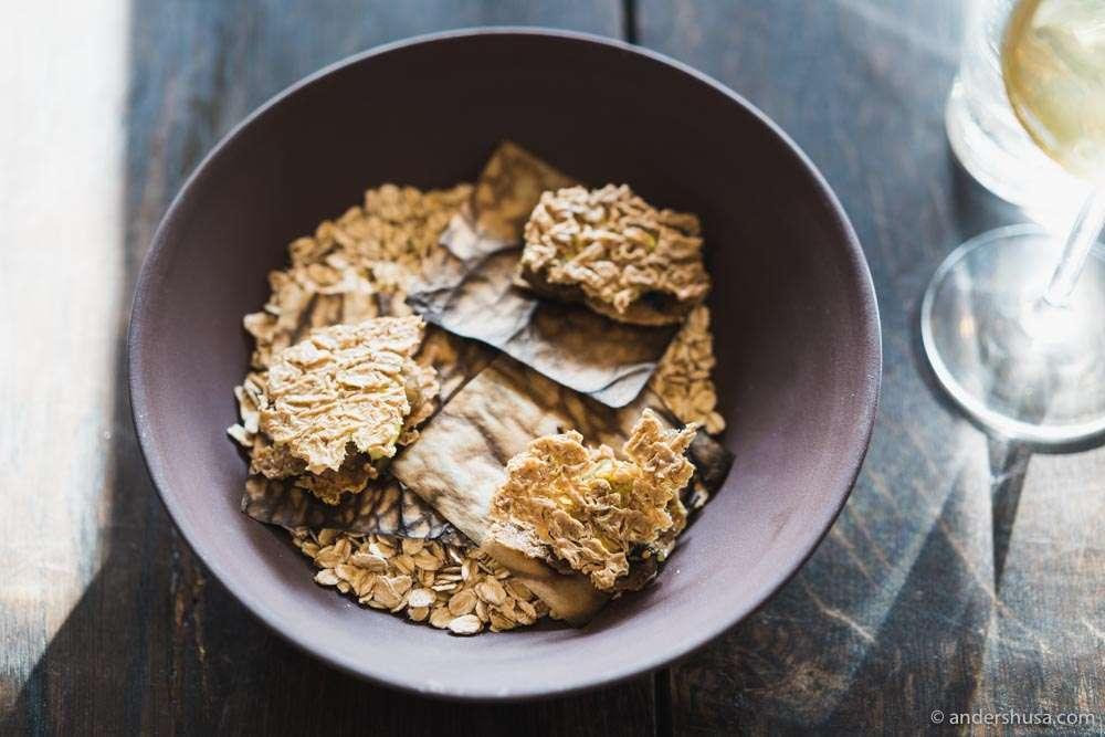 Fermented oats, pak choy, and leek emulsion.