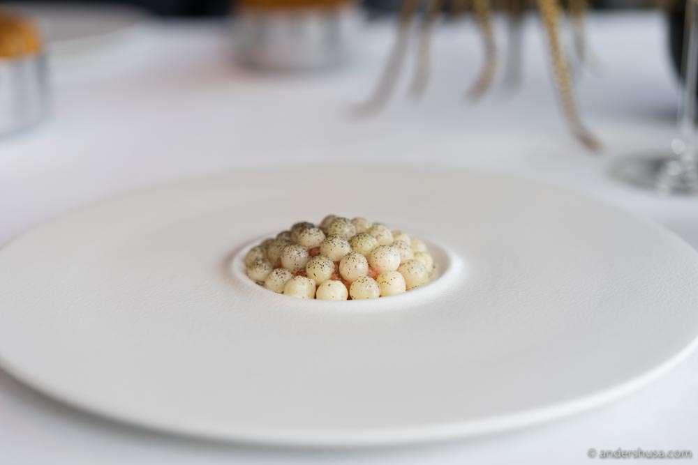 Lumpfish roe with kohlrabi spheres.