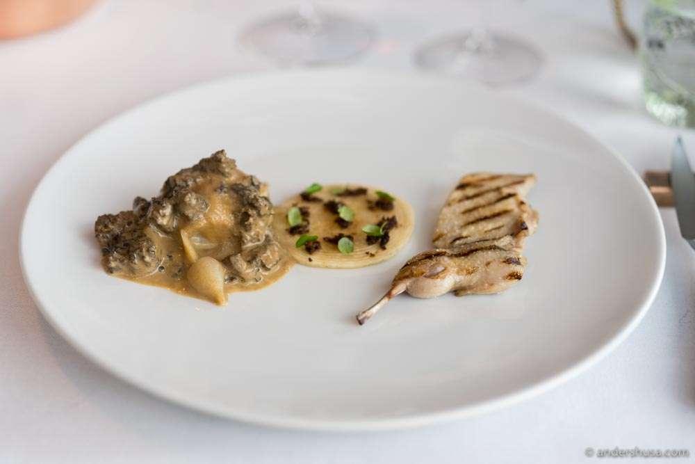 Celeriac, morels, and grilled quail.