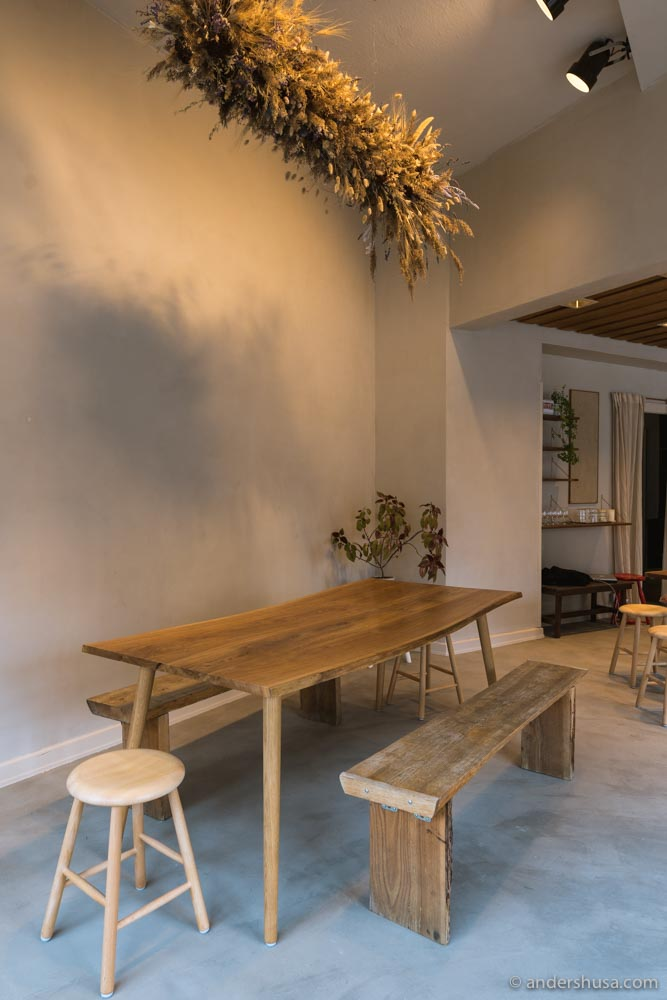 Owner Anders Lorenz made all of the wooden tables by hand.