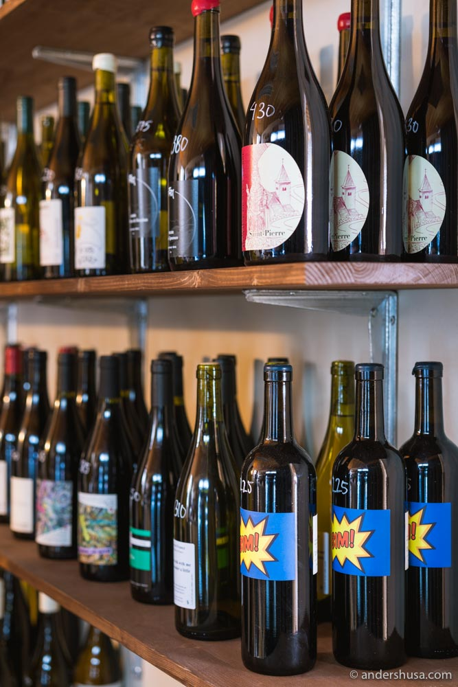 Alice now sells bottles of natural wine to go!