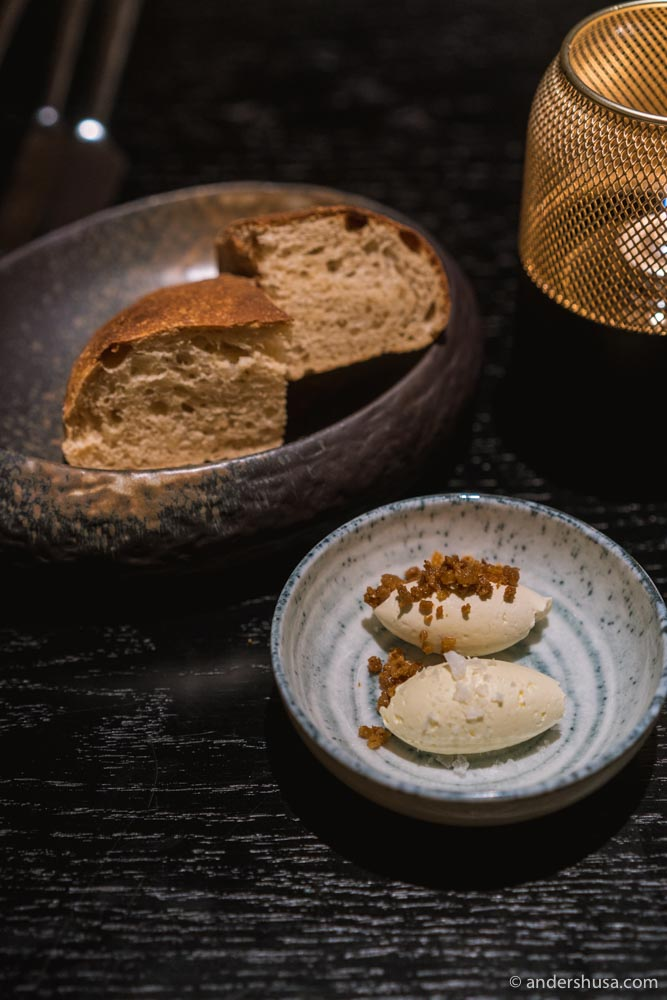 Celeriac bread with salted butter and chicken stock butter with crispy chicken skin.