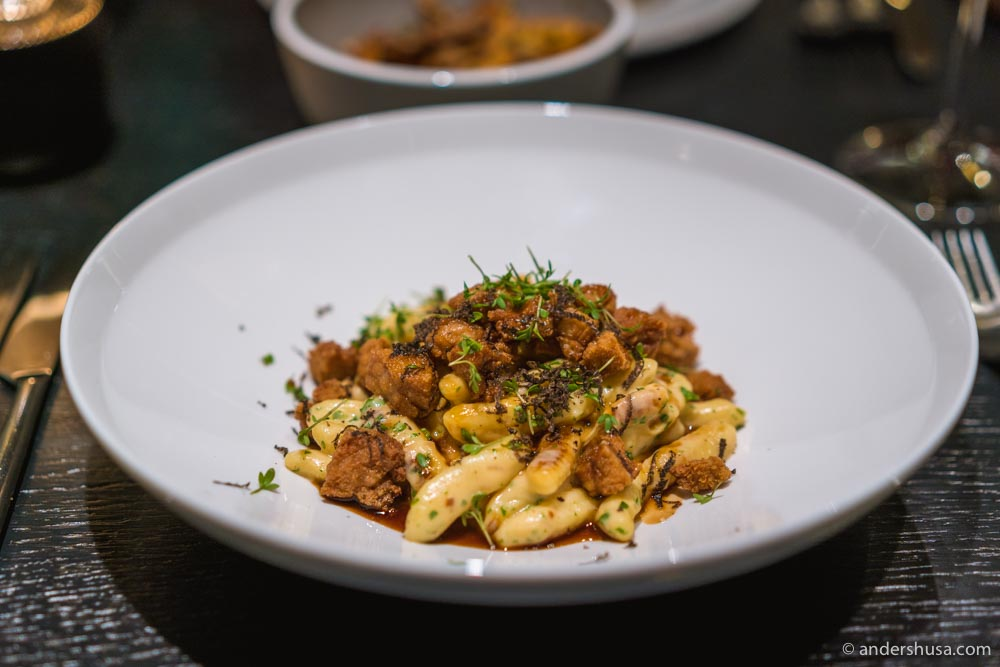Cavatelli pasta with sweetbreads and black truffle.