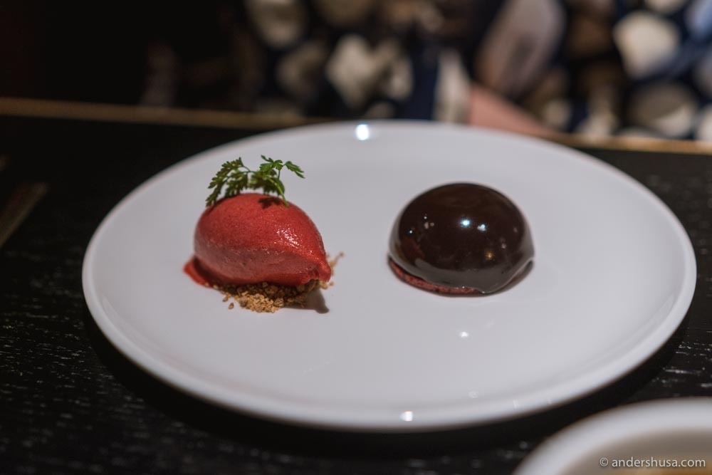 Glazed dark chocolate mousse and a cherry and yuzu sorbet.