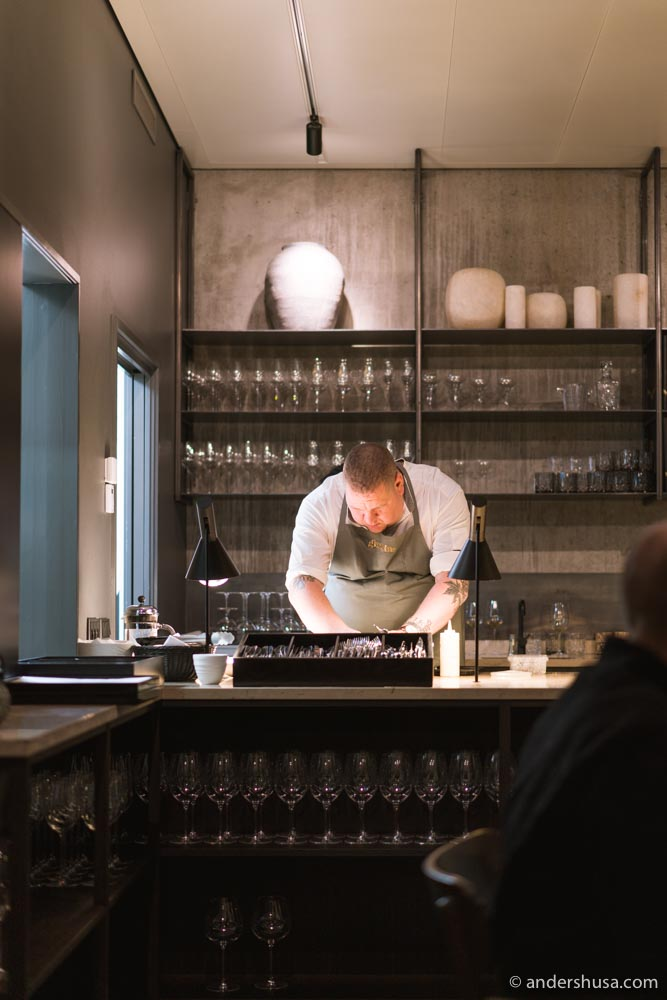 Chef Anders Kuk Kristensen in the kitchen at Ghrelin.
