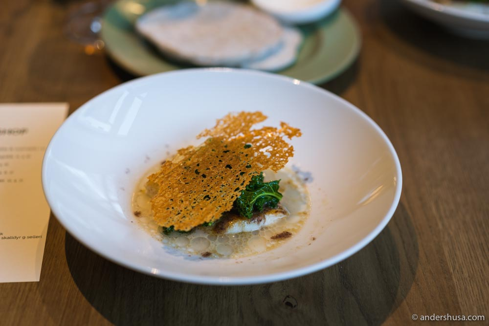 Brill, mussel sauce, horseradish, kale, and a chip made of chicken stock.