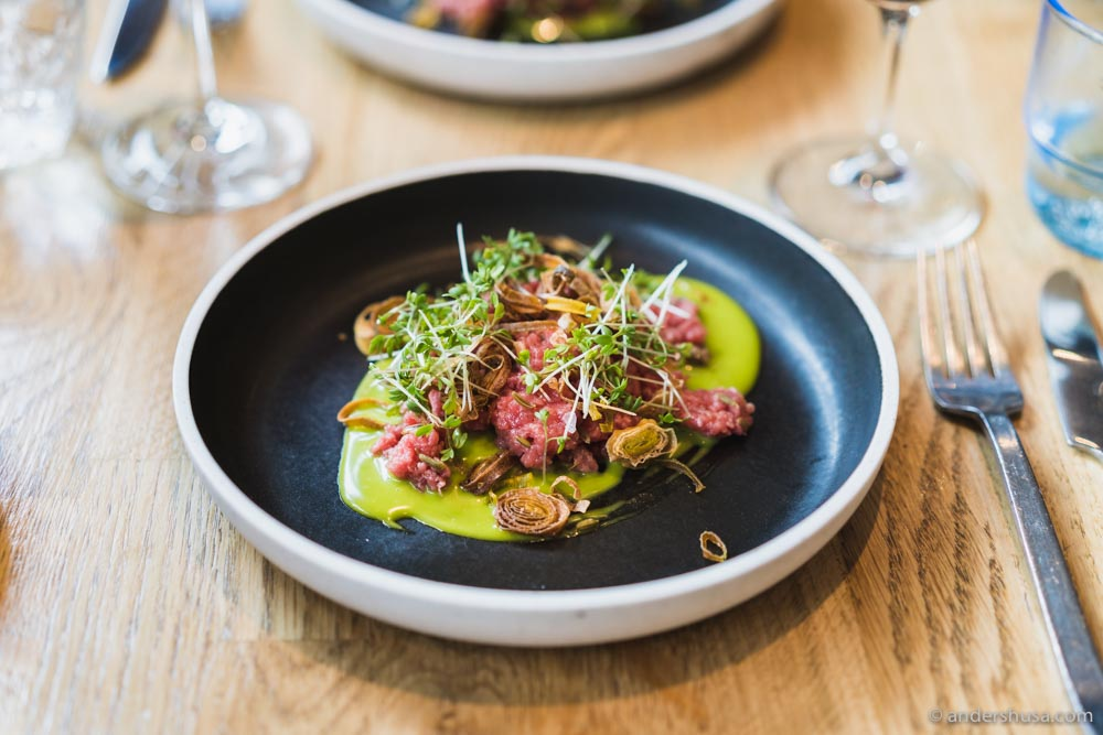 The classic Pondus beef tartare with fermented fennel seeds, crispy leek, and a sauce of lovage.