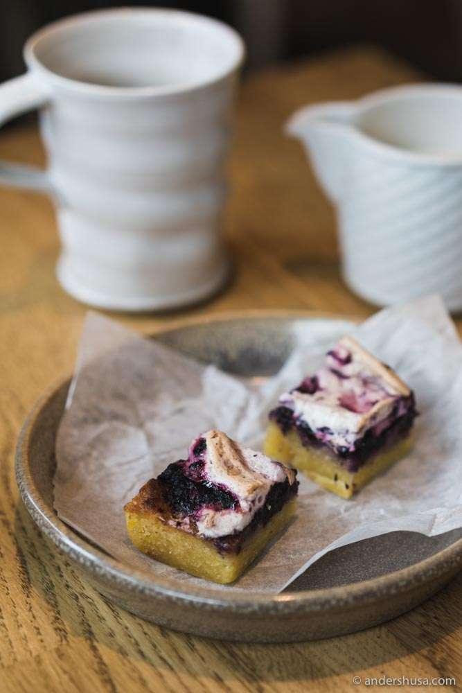 Blueberry almond cake for dessert.