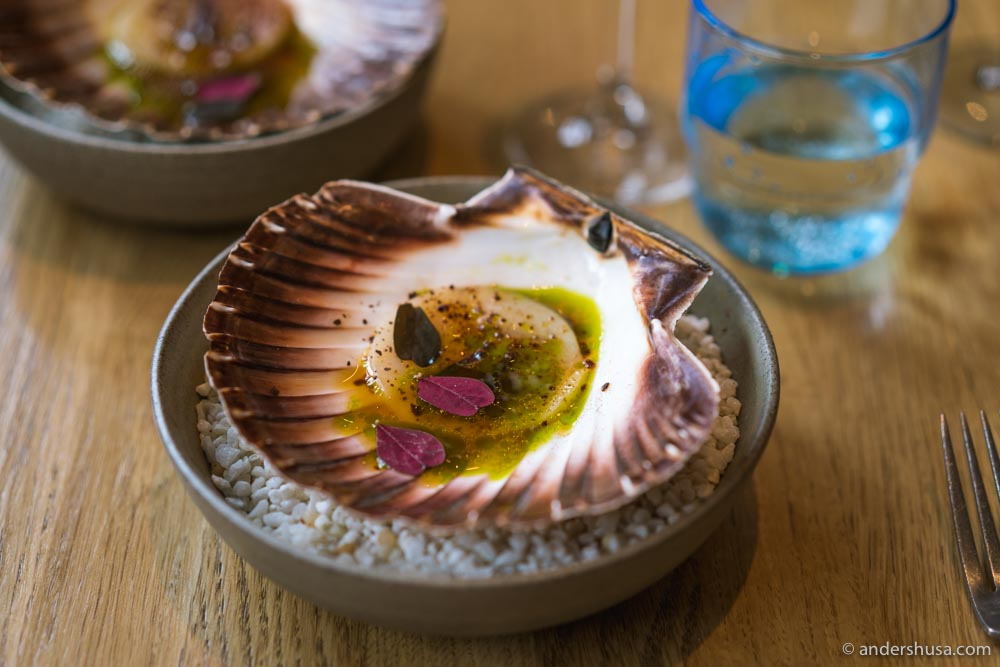 Sweet, raw scallops with great texture, and fresh acidity from the tomato juice.