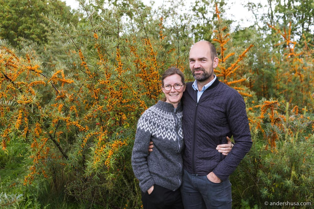 Camilla and Mads Meisner in front of their sea buckthorn plantation.