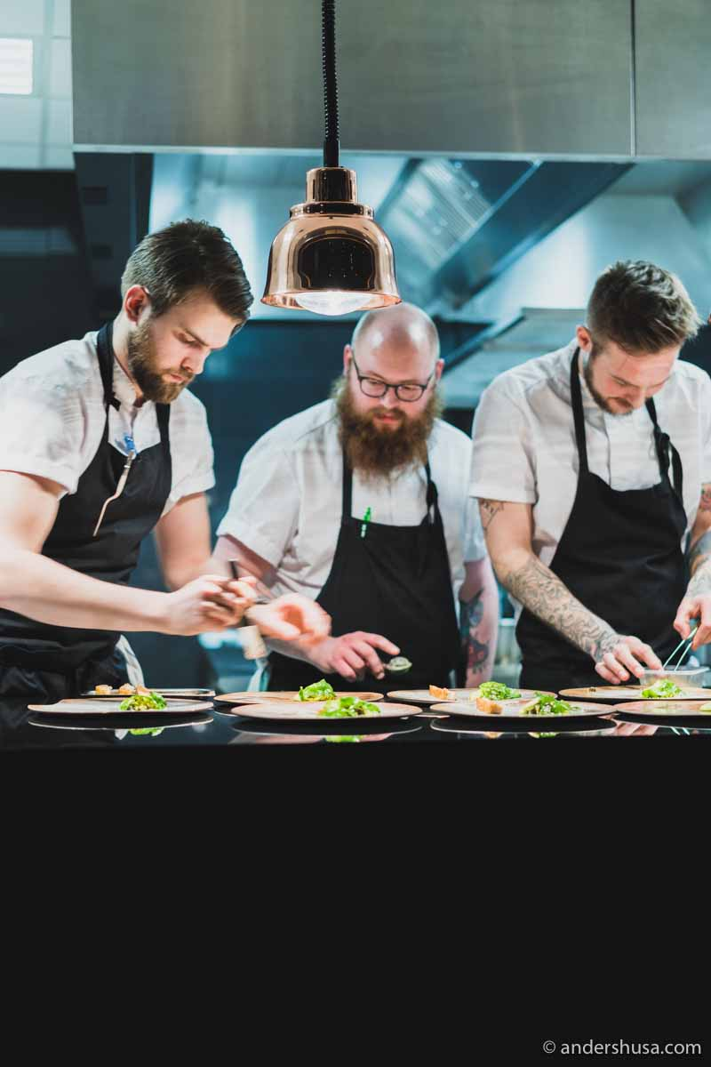 Chefs Christopher Christiansen, Mads Revheim-Skjolden, and Jimmy Øien.