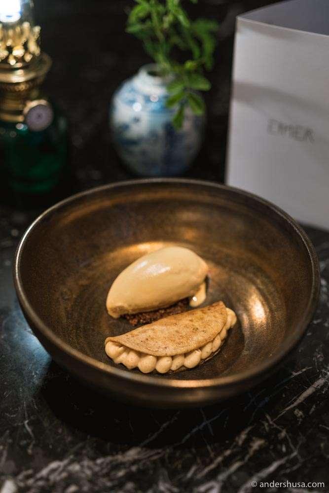 Koji buttermilk pancake filled with hazelnut cream and rhubarb, and salted caramel ice cream.