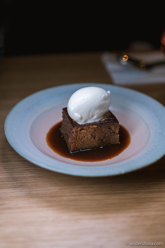 Decadent sticky toffee pudding with milk ice cream for dessert.