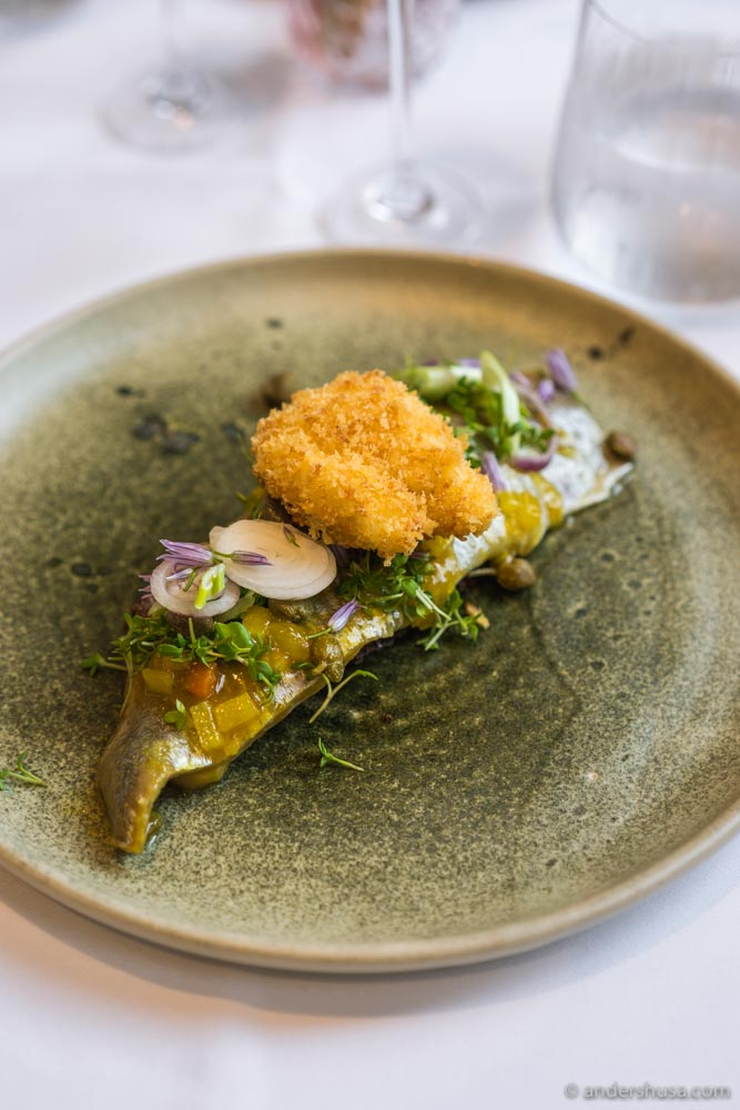 Herring in curry chutney with crisp egg and cress.