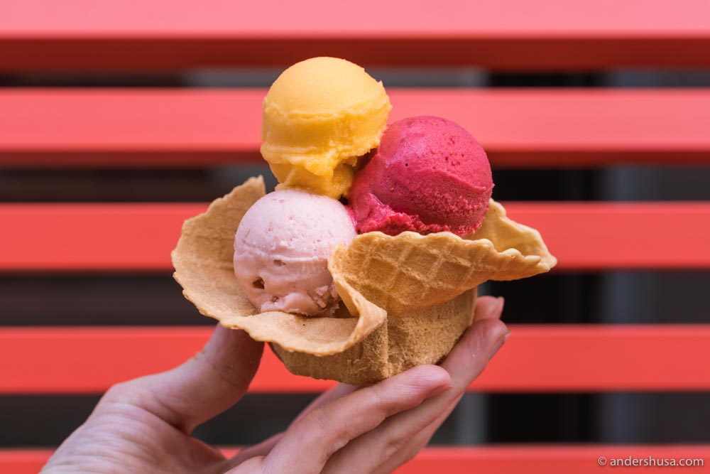 """Taste the World"" at Østerberg Ice Cream – six scoops of exotic fruit ice cream."