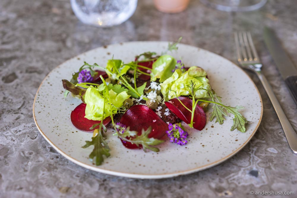 Beetroot with horseradish, capers, and cress.