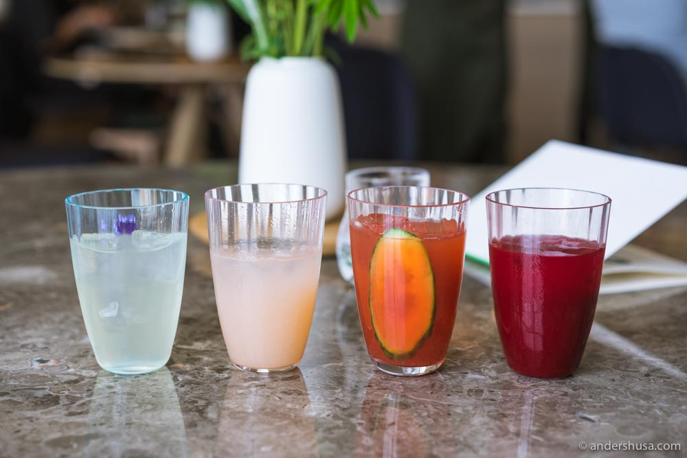 Lilac and lavender lemonade, gooseberry juice, strawberry and pear juice, and beetroot and carrot juice.
