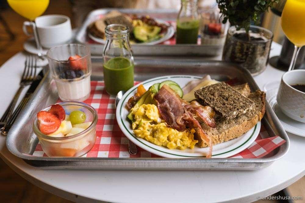 The breakfast tray at Amerikalinjen.