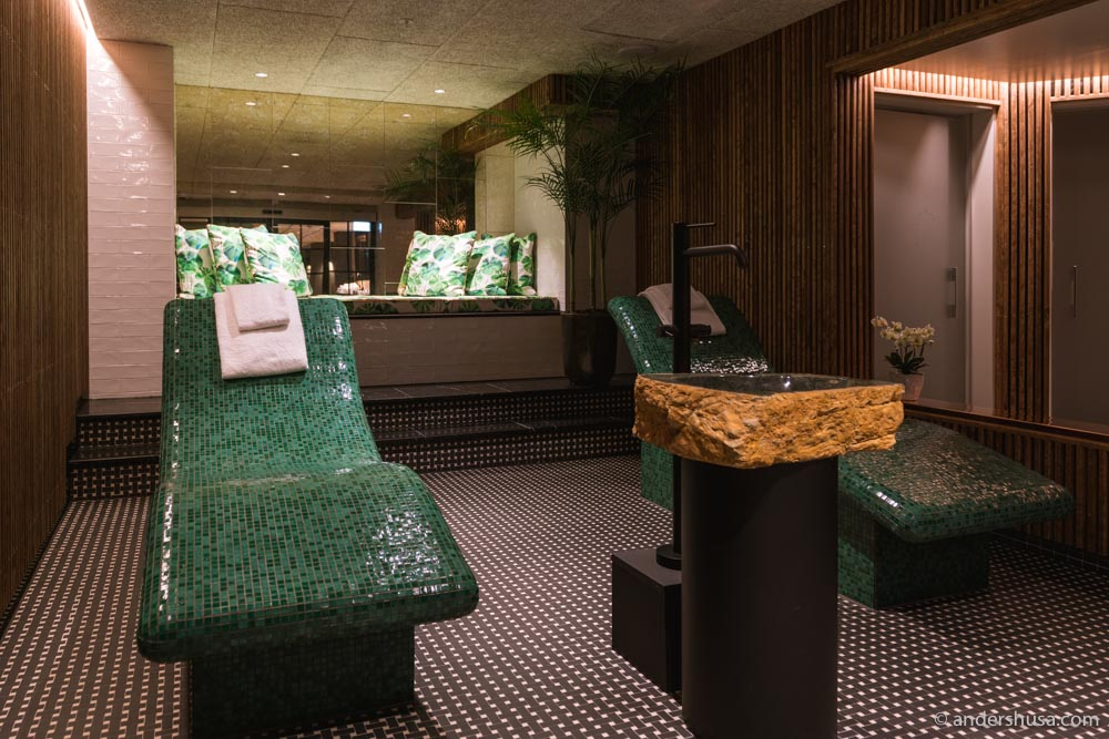 Relax in one of the heated mosaic beds in the spa.