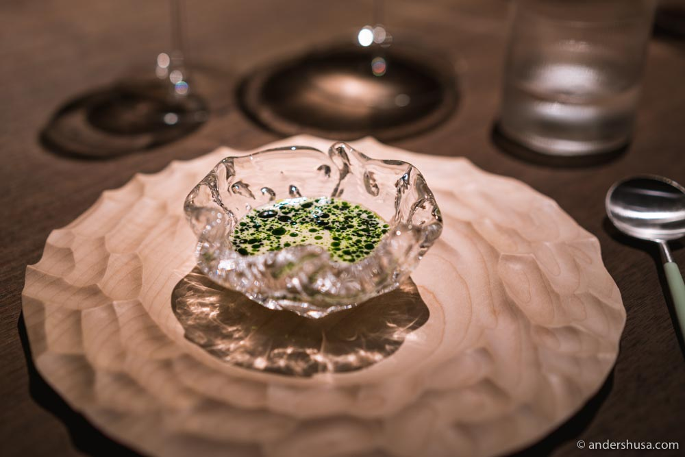 Oyster tradition – cold oyster emulsion with a warm mussel and dill sauce.