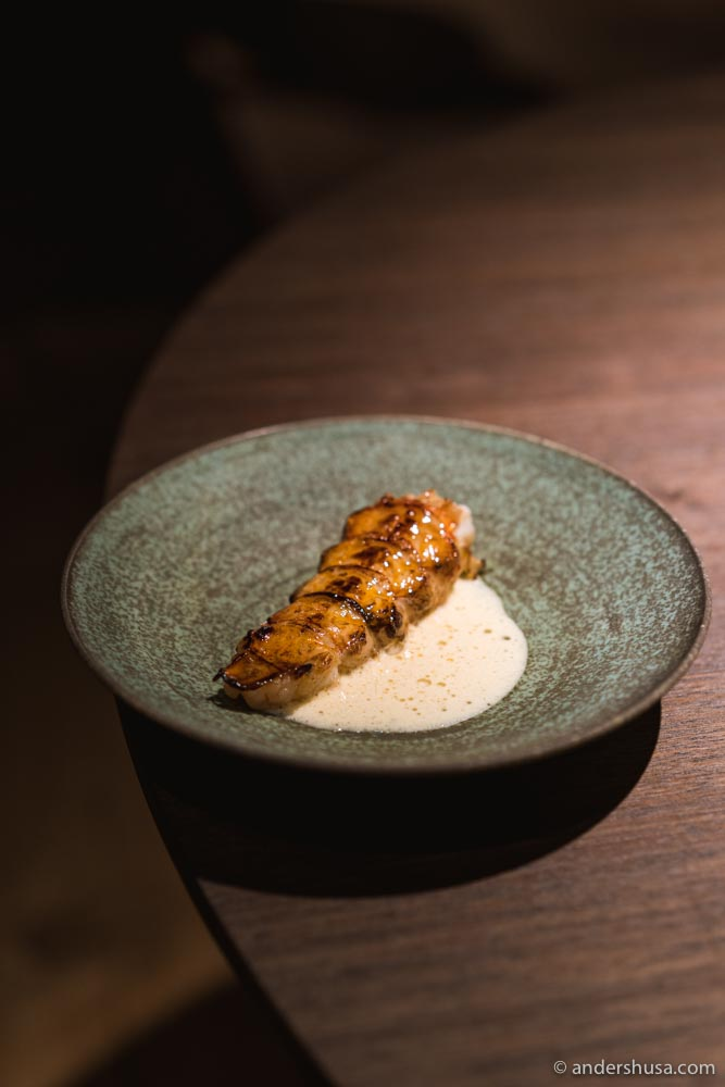 Langoustine tail grilled over burning embers, glazed with blackcurrant wood syrup, served with a creamy sauce flavored with blackcurrant leaves.