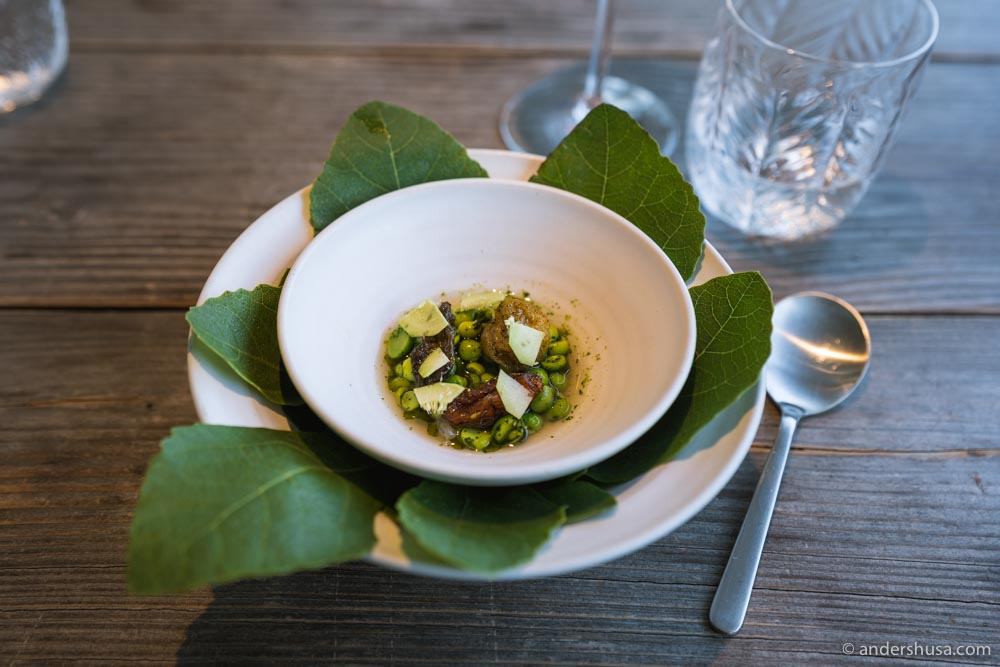 Danish green peas, fig leaf oil, green fig, raw shrimps, semi-dried tomatoes.