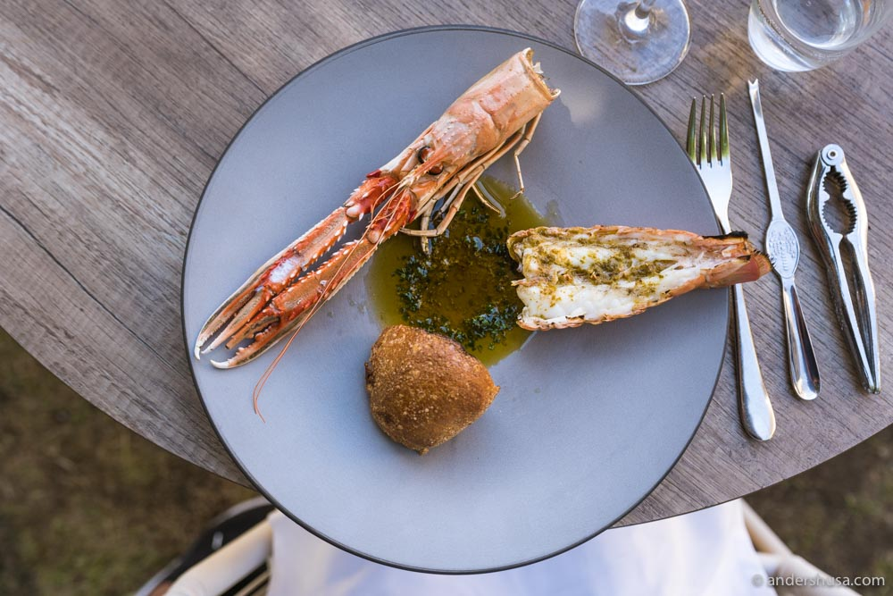 Langoustine, bread, and butter.