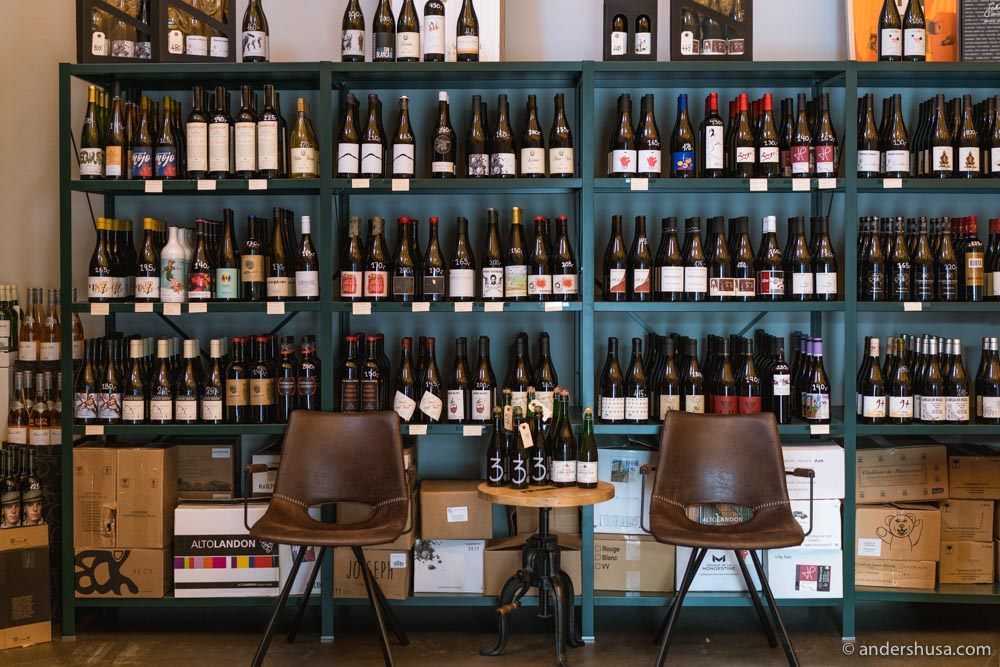 You can buy wines to take home from Vinøst's bottle shop.