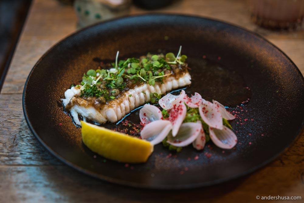 Grilled Faroese skate at The Tarv Grillhouse.