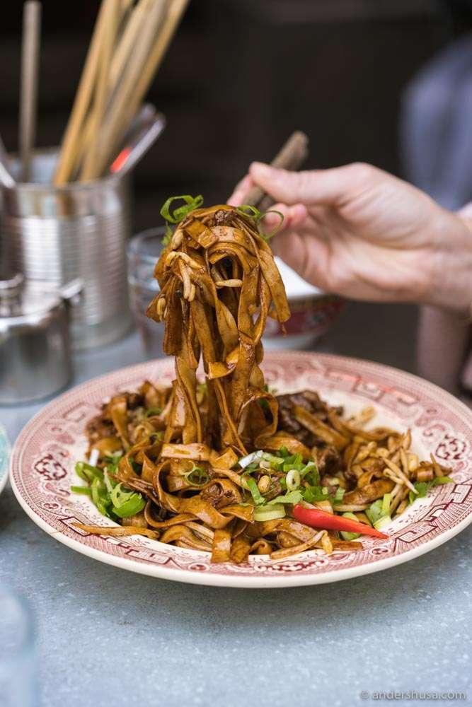 LU's beef chow ho fun noodles.