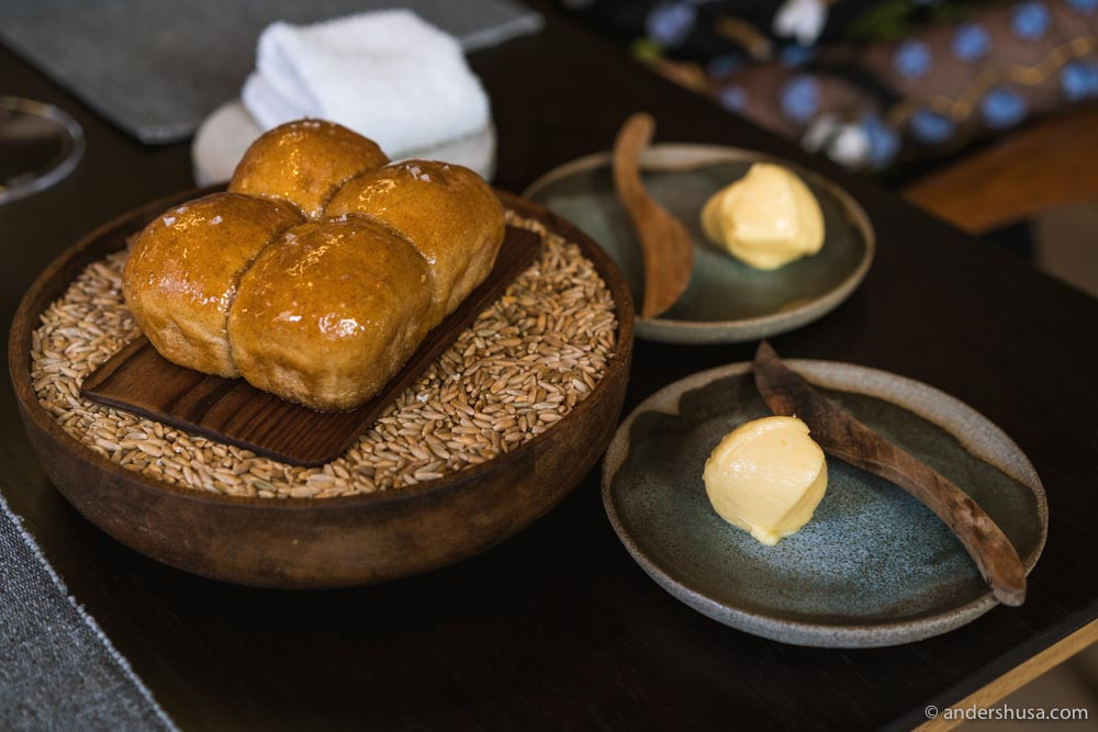 English ale bread rolls with butter.