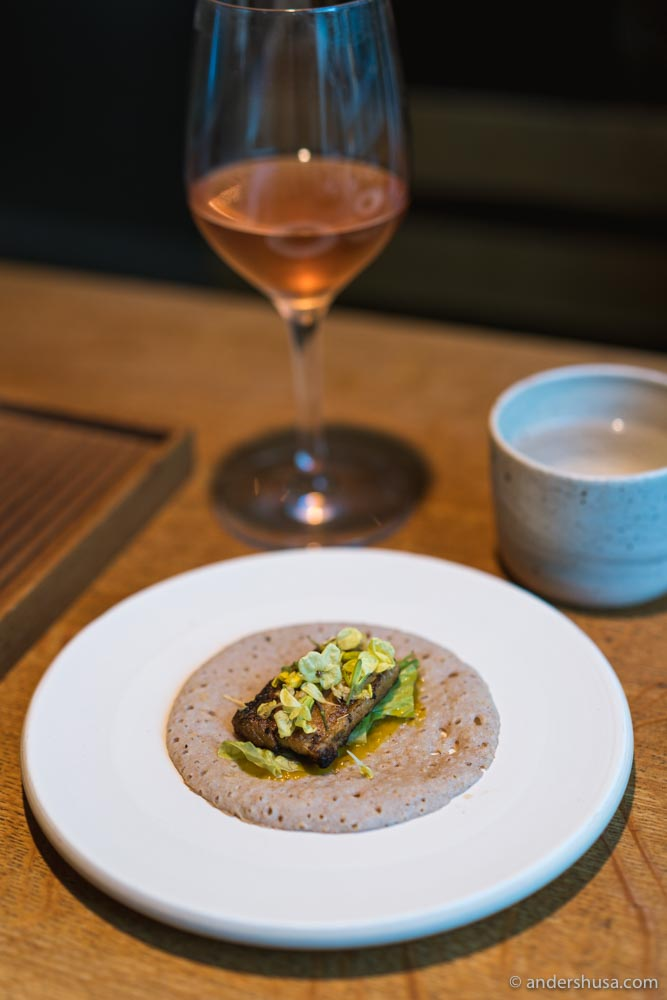 Buckwheat sourdough injera with pork belly and pumpkin miso.