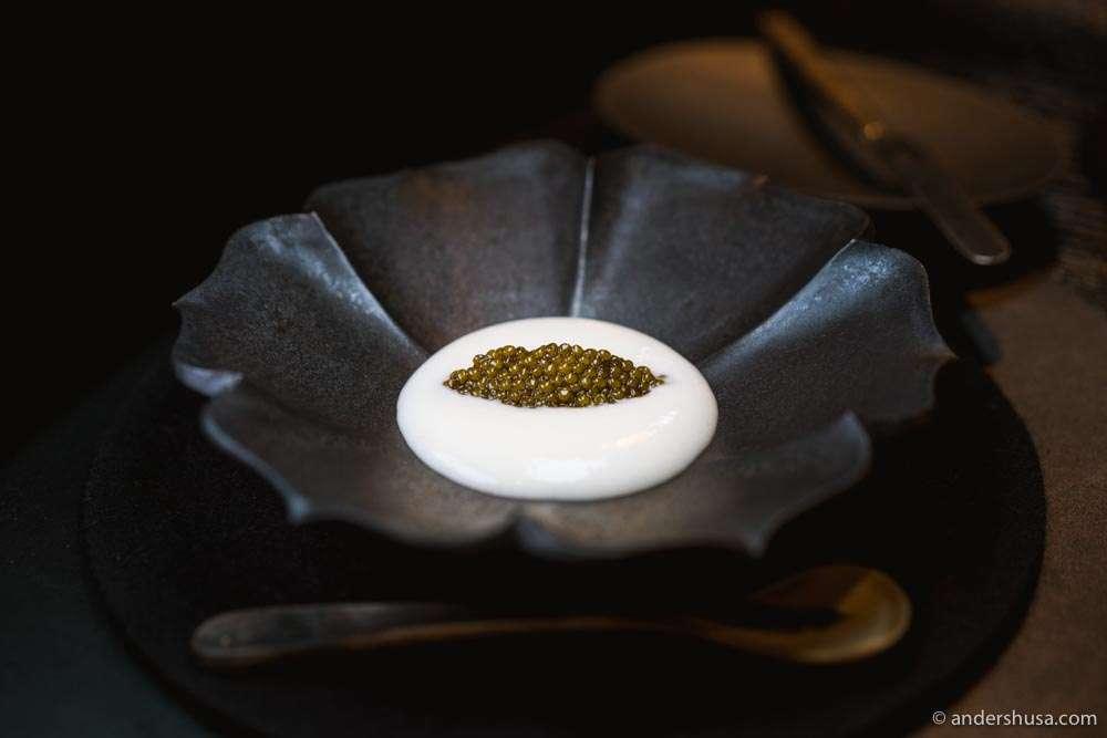 Konstantin Filippou's signature cod brandade with caviar.